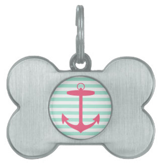 Ancla verde y rosada de la espuma del mar placas de nombre de mascota