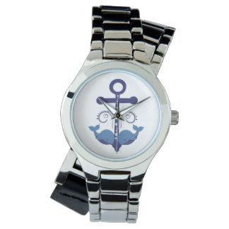 Ancla y ballenas azules relojes