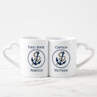 Ancla y cuerda náuticas en azul y blanco tazas amorosas