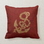 Ancla y cuerda náuticas en rojo rústico almohada