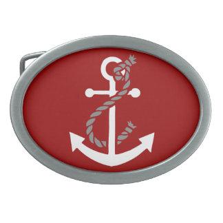 Ancla y cuerda náuticas hebilla cinturon oval