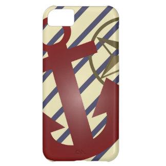 Ancla y estrella náuticas francesas con las rayas  funda para iPhone 5C