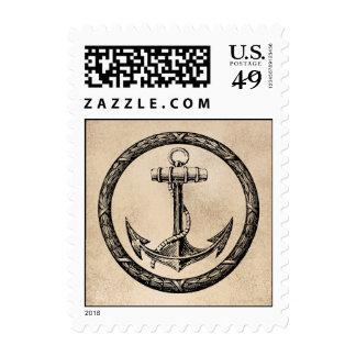 Ancla y guirnalda sello