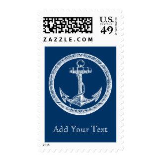 Ancla y guirnalda sello postal