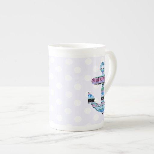 Ancla y lunares tribales púrpuras taza de té