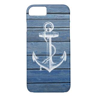 Ancla y madera blancas del azul del vintage funda iPhone 7
