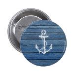 Ancla y madera blancas del azul del vintage pins