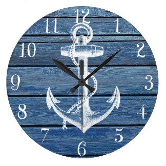 Ancla y madera blancas del azul del vintage reloj redondo grande