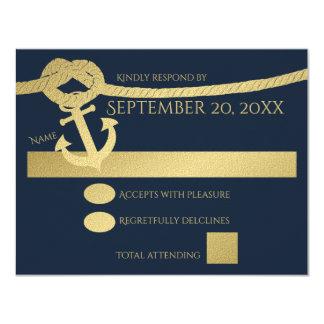 """Ancla y oro y azul náuticos de la cuerda invitación 4.25"""" x 5.5"""""""