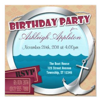 Ancla y porta en las invitaciones del cumpleaños comunicado