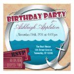 Ancla y porta en las invitaciones del cumpleaños d comunicado