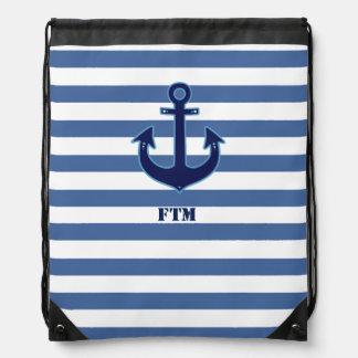 ancla y rayas de la marina de guerra personalizada mochila