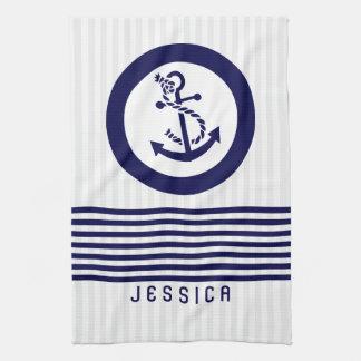 Ancla y rayas náuticas azules del barco toallas de cocina