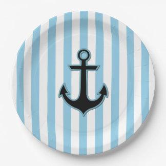 Ancla y rayas náuticas - blanco azul negro plato de papel de 9 pulgadas
