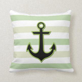 Ancla y rayas náuticas - blanco verde negro cojín