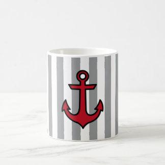 Ancla y rayas náuticas - gris negro rojo taza