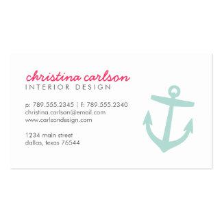 Ancla y rayas náuticas lindas de la menta tarjeta de visita