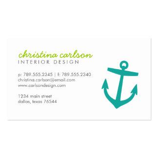 Ancla y rayas náuticas lindas del trullo tarjetas de visita