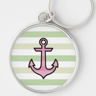 Ancla y rayas navales - rosa verde negro llaveros personalizados