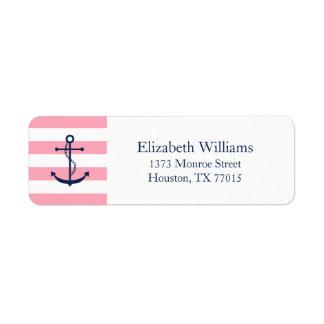 Ancla y rayas rosadas azules blancas etiquetas de remite