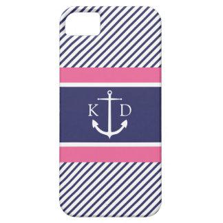 Ancla y rayas y &Pink náuticos de la marina de iPhone 5 Fundas