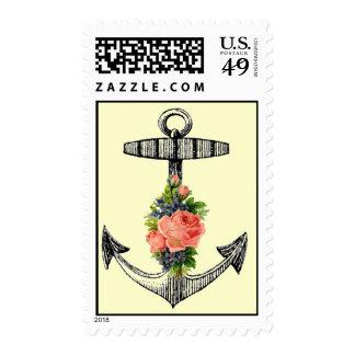 Ancla y rosas náuticos del vintage sellos