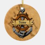 Ancla y rueda náuticas personalizadas adorno navideño redondo de cerámica