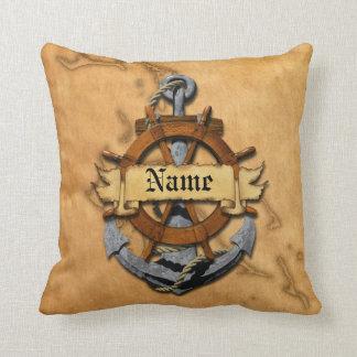 Ancla y rueda náuticas personalizadas almohada