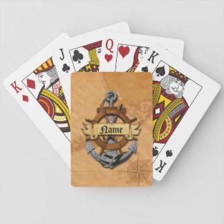 Ancla y rueda náuticas personalizadas baraja de póquer