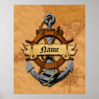 Ancla y rueda náuticas personalizadas posters