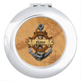 Ancla y rueda náuticas personalizadas espejo compacto