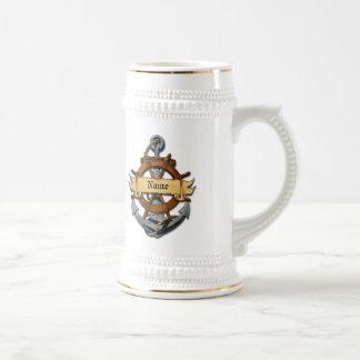 Ancla y rueda náuticas personalizadas taza de café