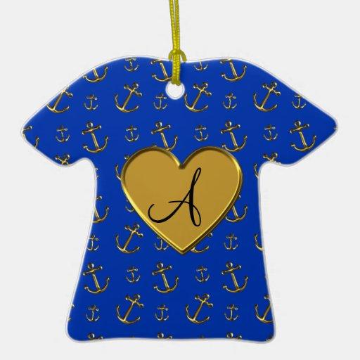 Anclas azules del oro del monograma adorno de cerámica en forma de playera