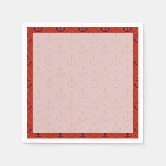 Anclas azules náuticas en rojo servilleta de papel