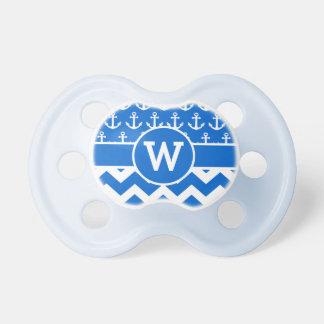 Anclas azules náuticas personalizadas de Chevron Chupetes Para Bebés