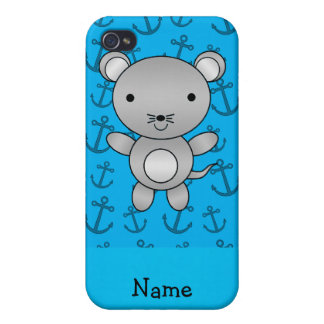 Anclas azules personalizadas del ratón conocido pe iPhone 4 protectores