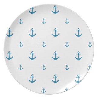 Anclas azules plato para fiesta
