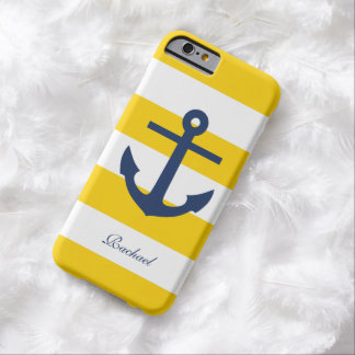 Anclas azules y amarillas blancas Aweigh Funda Para iPhone 6 Barely There