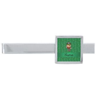 Anclas conocidas personalizadas del verde del alfiler de corbata plateado