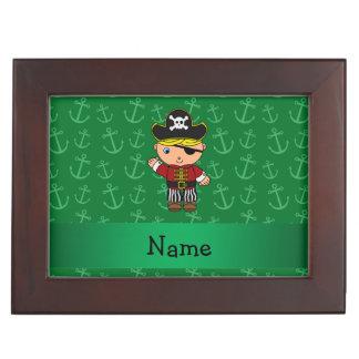 Anclas conocidas personalizadas del verde del cajas de recuerdos