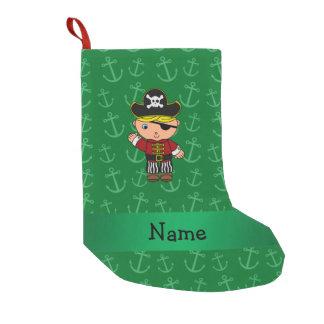 Anclas conocidas personalizadas del verde del calcetín de navidad pequeño