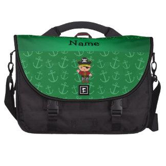 Anclas conocidas personalizadas del verde del pira bolsas de portátil