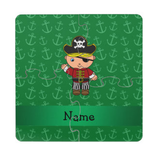 Anclas conocidas personalizadas del verde del posavasos de puzzle