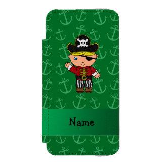 Anclas conocidas personalizadas del verde del funda cartera para iPhone 5 watson