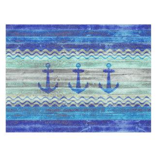 Anclas costeras de la decoración de los azules mantel