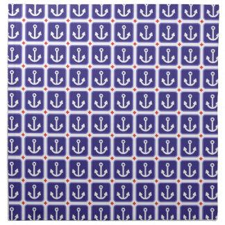 Anclas en azul náutico servilleta imprimida