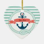 Anclas náuticas - 2 echados a un lado adorno navideño de cerámica en forma de corazón