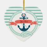 Anclas náuticas - 2 echados a un lado adorno de cerámica en forma de corazón