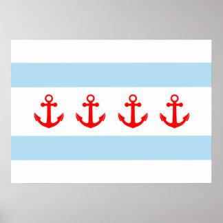 Anclas náuticas de la bandera de Chicago Póster