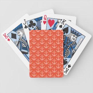Anclas náuticas en el modelo bonito rosado baraja de cartas